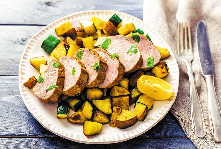 Lomo de cerdo a la mediterranea con vegetales